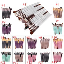 Wholesale Eyeshadow Brush Goat Hair - Hot sell 15Pcs Professional Make up Brushes Set Foundation Blusher Powder Eyeshadow Blending Eyebrow Makeup Brushes MR415