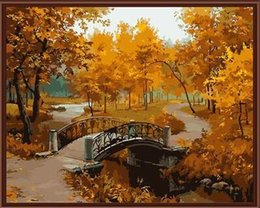 Wholesale Landscape Thick Paintings - Frameless Wall Art Pictures Painting By Numbers DIY Digital Oil Painting On Canvas Home Decor Autumn Maple G071 40*50cm