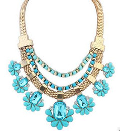 Wholesale Toggle Clasp Link Necklaces - Women Flower Crystal Chain Choker Chunky Statement Bib Pendant Chain Necklace Gold