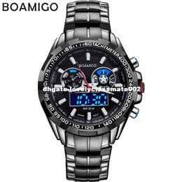 Reloj de la marca boamigo online-BOAMIGO hombres de lujo deporte relojes casual marca militar doble pantalla LED digital relojes relojes de pulsera de acero de cuarzo caliente a prueba de agua