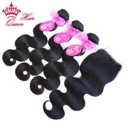 """Wholesale Virgin Body Wave 3pcs Queen - Queen Hair 1pc Lace Closure With 3Pcs Bundle,4pcs lot Brazilian Virgin Human Hair Extensions Body Wave 10""""-28"""""""