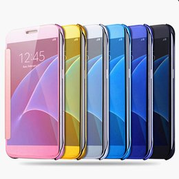 Wholesale Sumsung Galaxy Cases - Case For sumsung S8 S8 Plus Cover UV Coating Mirror Flip Cover Leather Case For Sumsung Galaxy S6 S7 S7 Edge Phone Coque