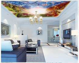 Wholesale Garden Oil Paintings - High Quality Custom 3d ceiling wallpaper murals Beautiful Garden Four Seasons Modern Oil Painting Ceiling Zenith Mural