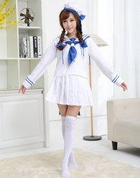 Wholesale Top Anime Cosplay Costumes Female - Hot Anime Game Wadanohara Cosplay Costumes Sets Tops Skirt Lolita Girls Sexy Female Sailor Uniforms Maid Uniforms