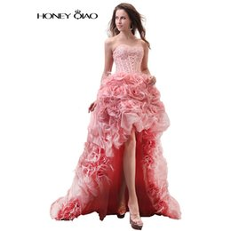 Wholesale High Low Prom Dress Cascade - A Line Organza Prom Dresses 2017 High Low Strapless Formal Party Gowns Court Train Beadings Ruffles Robe De Soiree