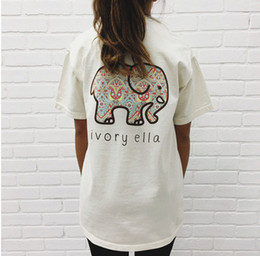 Wholesale Elephant Tee - Summer New Women Casual O-neck Short Sleeve Letter Printing Elephant Ivory Ella 3D Printing T - Shirt Loose Lady Femme Tops Tees