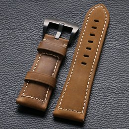 wholesale horse watches Promo Codes - Wholesale- Crazy Horse Leather High Quality Watch Band Pin Buckle Watchstrap for Mens Womens Watch Replacement PD014