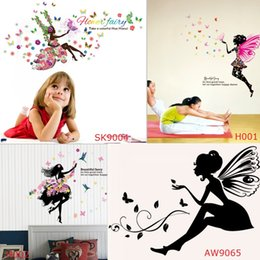 Wholesale Decals Girl Bird - Beautiful Faery Girl Wearing Flowers Skirt Wall Stickers Cartoon Fairy Faery Birds Love Decals for Kids Nursery Living Room
