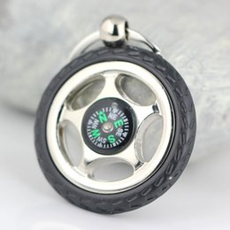 Wholesale Voice Recording Photo Frame - 10pcs Lot Creative Rubber Wheel Tyre Tire Compass Keychain Key Chain Ring Keyring Keyfob 86088 Free Shipping