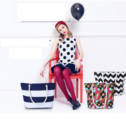 Wholesale Wholesale Design Tote Bags - Handbags Women Beach Canvas Bags Flower Stripes Printing Handbags Ladies Shoulder Bag Casual Tote 43 design 50pcs KKA1509