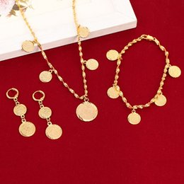 Wholesale Germany Gold Coins - Bracelet Necklace Earrings Set Germany Spain France Coin Money Sign Women 24k Gold Color Filled Arab Africa Europe Jewelry