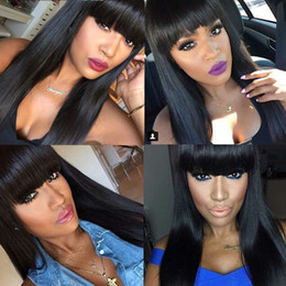 Parrucche cinesi nere online-Parrucche piene del merletto dell'onda diritta serica del commercio all'ingrosso 100% dei capelli umani con i capelli neri per le donne nere Capelli umani cinesi