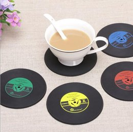 Wholesale Vinyl Table - 4 Colors Creative CD Cup Mat Retro Vinyl Coasters Non Slip Vintage Record Cup Pad Home Bar Table Decor Coffee Mats CCA6308 500pcs