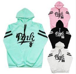 Wholesale Hoody Tops - New Cotton Hoodie Women Fashion Loose Pink 86 Letter Print Hooded Sweatshirt Fleece Long Sleeve Hoody Moletom Feminino Tops