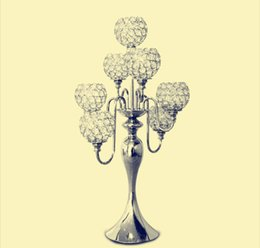 Wholesale Crystal Ball Centerpieces - Crystal 7 Arms Candelabra  Floral Riser Wedding Centerpieces Flower Ball Stand 27 inches High