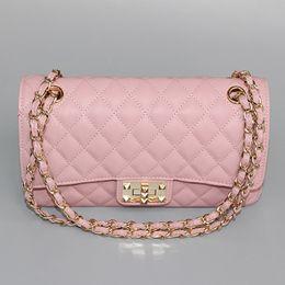 Wholesale Women Body Chains - excellent quality pink caviar flap handbag golden chains new medium size women shoulder bag genuine leather bags