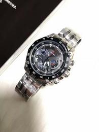 Wholesale Second Watches - hot sell New Mens Sports EF-550RBSP-1AV Chronograph Black Dial Watch EF-550RBSP-1AV Gent Wristwatch 1 20 Second Stopwatch Pendulum Swing Fun
