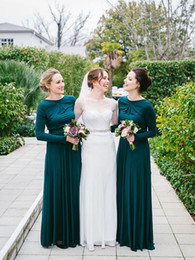 Wholesale Long Jersey Bridesmaid Dresses - Drak Green Modest Bridesmaid Dresses Long With Long Sleeves A-line Rustic Country Jersey Wedding Party Gowns Custom Made New Maids of Honor