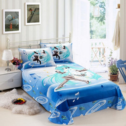 Set biancheria da letto per bambini Hatsune Miku Anime Blu Set 3 pezzi Set copripiumino per bambini in cotone 100% da set di biancheria da letto di ricamo a mano fornitori