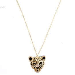 Wholesale Leopard Head Sweater - 2016 Leopard Tiger Head Rhinestone Pendants Necklaces Chain Sweater Vintage Retro Jewelry Golden Color For Fashion Women Casual Party