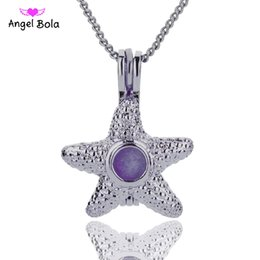 Wholesale Imitation Gold Beads - Wholesale 3 Styles in stock 18kgp Fashion starfish DIY pearl  gem beads locket cages Pendant necklace