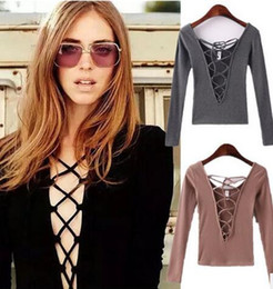 Senhoras casual jumpers On-line-Outono novo Mulheres Crop Tops Sexy Deep V Ladies Bandage Tops Casual Tight Knitted Sweater jumper Manga comprida Camisa inferior 4 cores