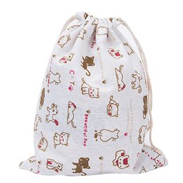 Wholesale Baby Travel Shop - Wholesale- Woman Bag Shopping Bags Baby Fashion Clothing Kids Cute Cat Animals Flower Printed Organizer Drawstring Cotton Travel Pouch Ba