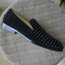 Wholesale Spiked Rivets - New mens spiked black suede dress shoes,designer brand business loafers wedding shoes,fashion men oxfords 39-47 drop shipping