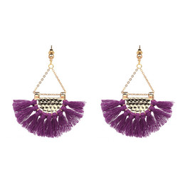 Wholesale Black Fringe Ribbon - New Gold Chain Handmade Ribbon Tassel Dangle Long Earrings For Women Bohemian Fringe Drop Earrings Xmas Gifts JJ