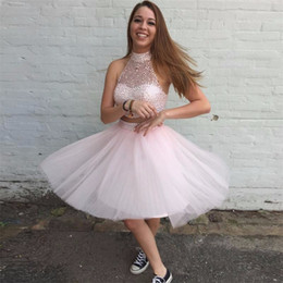 Wholesale Short Sparkly Homecoming Dresses - Sparkly Pink Two Piece Tulle High Neck Mini Short Homecoming Dresses Crystal Beaded Tulle 8th Graduation Party Dresses