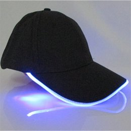 Wholesale Led Baseball Caps Wholesale - Adult glow in the dark Hats Led Light Cap Women Men Luminous Baseball hat Fashion Mens Sport Hip Hop Hat wholesale Christmas Party Gift new