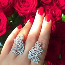 Wholesale Big Wings Rings - free shopping baroque vintage style fashion brand jewelry micro pave luxury butterfly open ring crystal zircon wings exaggerated big ring