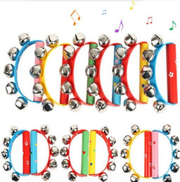 Wholesale Toy Music Sets - Wholesale- NEW ARRIVE Wooden Handle Sleigh Jingle Hand Bell Tambourine Rattle Percussion Kid Music Toy