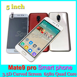 Wholesale Cheap Touch Screen Cellphones - Cheap Mate 9 Pro Smart phones MTK6580 Quad Core Android Dual SIM Unlock 3G Mobile Phone 512MB 4GB Curved Screen Cellphone China Red