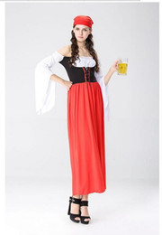 Wholesale Sexy Beer Dresses - 2017 Hot Sexy red Beer Costume Girl Wench Maiden Costume cosplay German Oktoberfest Costume Fancy Dress
