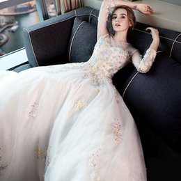 Wholesale White Sleeved Princess Dresses - SSYFashion New The Bride Luxury Wedding Dress The Princess Elegant Long Sleeved Multicolor 2017 Lace Flower Court Train Wedding Gown