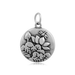 Wholesale Lotus Flower Bracelets - Simple Style Nature Landscape Painting Birds Lotus Trees Moon & Star Round Shape Stainless Steel Pendant Necklace Bracelet jewelry