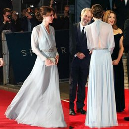 Wholesale Prom Dresses Kate Middleton - Elegant kate middleton Light Skye Blue Chiffon Evening Dresses With Beaded Sash Long Sleeves Hollow Back Custom Made Cheap Prom Party Gown