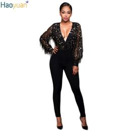 Wholesale Jumpsuit Fashion Trend - Wholesale- HAOYUAN Europe Trend Fashion Sexy Sequin Romper Women Deep V Neck Bodycon Black Jumpsuit Mesh See Through Long Sleeve Bodysuit