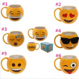 Wholesale Cup Smiling - Lovely Smiling Face Emoji Mugs cartoon 301-400ml ceramics Cup 6 styles Coffee Cups 50 Pcs YYA144