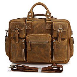 Wholesale Genuine Laptops - New 2017 Big laptop Bags Men crazy horse Leather Handbag Zipper Muti Pocekts Travel Tote Shoulder Bag Men Casual Genuine Leather briefcase