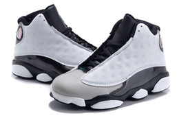 Wholesale Kids Halloween Shoes For Girls - Air Retro 13 Grey Pink Black White Kids Basketball Shoes Childrens Sports Shoes 13s Sneakers Cheap Kids Shoes fashion trainer for boys girls