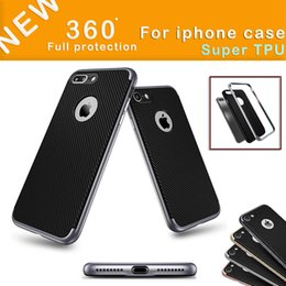 Wholesale pure black case iphone - For iPhone7   7 plus   6s Mobile Phone Case Anti-drop Pure Black Combo Carbon Fiber Protective TPU Case with Opp Package
