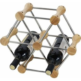 Wholesale Wine Bottle Display Stand - DIY Transformable Wine Standing Stand Rack Holder Mount Store Bottles Countertop Wooden Stainless Steel Kitchen Bar Display