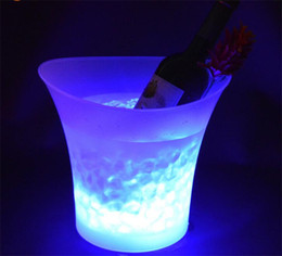 Wholesale Light Bucket Bar - Free Shipping 5L Volume plastic led ice bucket color changing,5L bars nightclubs LED light up ice bucket Champagne wine beer bucket bars