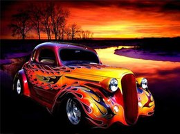 Wholesale car paintings - YTG,Full,Older Car,5D,DIY,Diamond Painting,Needlework,Embroidery,Cross Stitch,Round Rhinestone,Decoration,Crafts,Fashion,Art