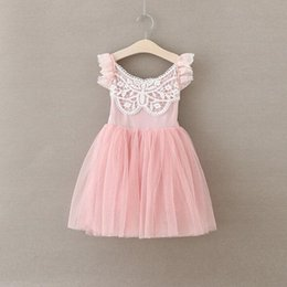 Wholesale Tulle Tutu Boutique - New Girls Dress Soft Tulle Ruffle Pattern Baby Girls Party Dress Summer Gilrs Outfit Birthday Girls Boutique Clothes