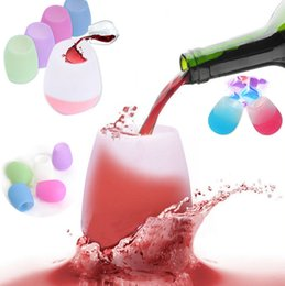 Wholesale Wedding Drinking Glasses - Silicone Wine Glasses Unbreakable Stemless Rubber Beer Mug Outdoor Cup Wine Glass Recyclable Drinking Cups I088