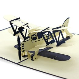 pop ups card Promo Codes - New Easter Day 3D Pop Up Airplane Handmade Best Wish Greeting Card Kirigami Gift Party Supplies