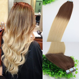 Wholesale Golden Brown Remy Extensions - Ombre Hair Dark Brown 4# Shade To Golden Blonde 613#Tape In Human Hair Extensions 40pcs 100gram Brazilian Remy Hair